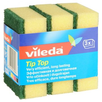 Губка для мытья ViledaГубка для мытья Vileda классическая Тип-Топ 3 шт<br>