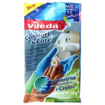 Перчатки для уборки Vileda Комфорт с кремом для чувствительной кожи рук размер M 09521