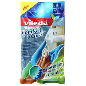 Перчатки для уборки ViledaПерчатки для уборки Vileda Комфорт с кремом для чувствительной кожи рук размер L 09522, размер L<br><br>Размер: L