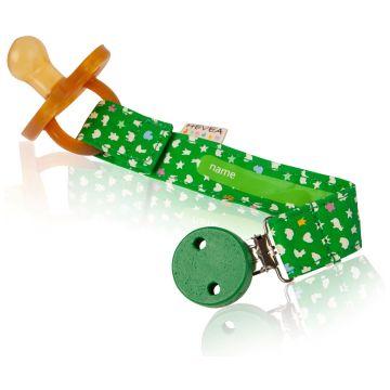 Держатель для пустышки и прорезывателя HeveaДержатель для пустышки и прорезывателя Hevea  из 100% органического хлопка (зеленый)<br>