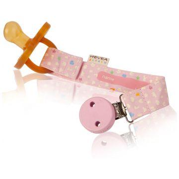 Держатель для пустышки и прорезывателя HeveaДержатель для пустышки и прорезывателя Hevea  из 100% органического хлопка (розовый)<br>