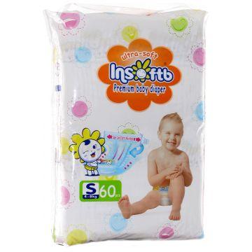 Подгузники InsoftbПодгузники Insoftb Premium Ultra-soft размер S (4-8 кг) 60 шт, в упаковке 60 шт., размер S<br><br>Штук в упаковке: 60<br>Размер: S