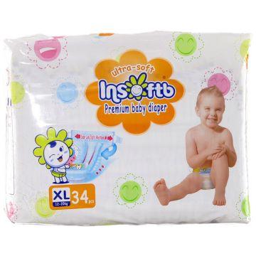 Подгузники InsoftbПодгузники Insoftb Premium Ultra-soft размер XL (12-20 кг) 34 шт, в упаковке 34 шт., размер XL (BIG)<br><br>Штук в упаковке: 34<br>Размер: XL (BIG)
