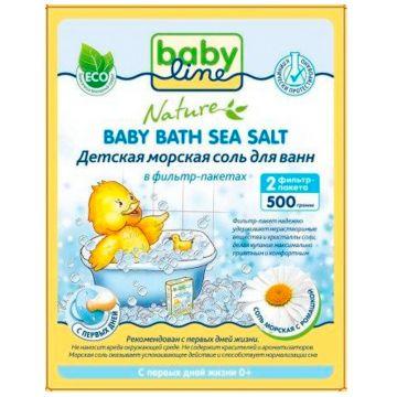 Детская морская соль для ванн BabylineДетская морская соль для ванн Babyline Nature с ромашкой в фильтр-пакетах 500 г<br>
