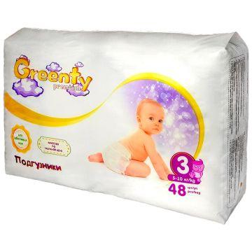 Подгузники GreentyПодгузники Greenty Premium размер 3 (5-10 кг) 48 шт, в упаковке 48 шт., размер M<br><br>Штук в упаковке: 48<br>Размер: M