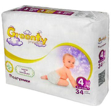 Подгузники GreentyПодгузники Greenty Premium размер 4 (9-14 кг) 34 шт, в упаковке 34 шт., размер L<br><br>Штук в упаковке: 34<br>Размер: L