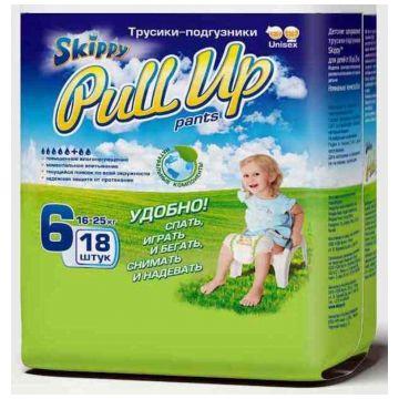 Трусики SkippyТрусики Skippy Pull Up XXL (16-25 кг) 18 шт, в упаковке 18 шт., размер XXL<br><br>Штук в упаковке: 18<br>Размер: XXL