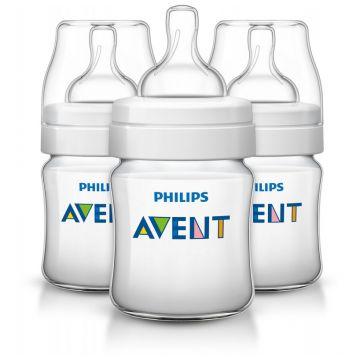 Бутылочка для кормления AventБутылочка для кормления Avent Philips серия Classic+ из полипропилена (125 мл 0 мес+ 3 шт) SCF560/37, возраст 1 ступень (0-3 мес)<br><br>Возраст: 1 ступень (0-3 мес)