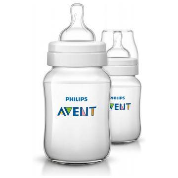 Бутылочка для кормления AventБутылочка для кормления Avent Philips серия Classic+ из полипропилена (260 мл 1 мес+ 2 шт) SCF563/27, возраст 1 ступень (0-3 мес)<br><br>Возраст: 1 ступень (0-3 мес)