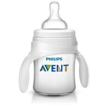 Бутылочка для кормления AventБутылочка для кормления Avent Philips серия Classic+ из полипропилена с ручками (125 мл 4 мес+) SCF625/02, возраст 2 ступень (3-6 мес)<br><br>Возраст: 2 ступень (3-6 мес)