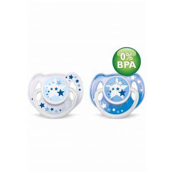 Пустышка AventПустышка Avent ночная BPA-Free силикон 6-18 мес. ( 2 шт.), возраст с 6 до 18 мес.<br><br>Возраст: с 6 до 18 мес.
