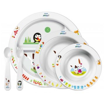Посуда детская в наборе Avent тарелки (3 шт) вилка и ложка для детей от 6 мес до 3-х лет SCF716/00