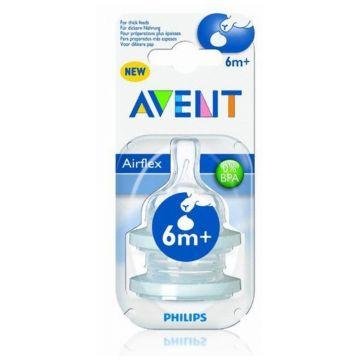 Соска AventСоска Avent для густых жидкостей силикон ( 2 шт.), возраст 3 ступень (6-12 мес)<br><br>Возраст: 3 ступень (6-12 мес)