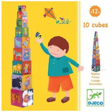 Игрушка развивающая DjecoИгрушка развивающая Djeco Кубики-пирамида Забавные 10 эл., возраст от 1 года<br><br>Возраст: от 1 года