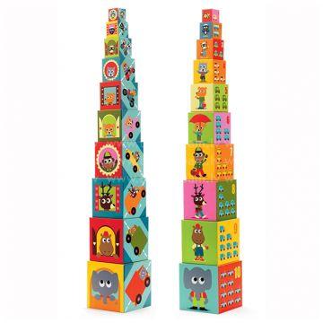 Игрушка развивающая DjecoИгрушка развивающая Djeco Кубики-пирамида Машины 10 эл., возраст от 1 года<br><br>Возраст: от 1 года