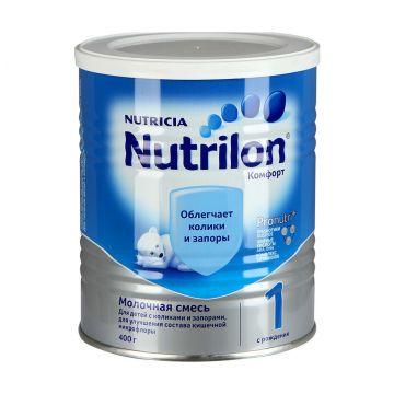 Сухая молочная смесь NutrilonСухая молочная смесь Nutrilon Комфорт-1 с 0 мес. 400 гр, возраст 1 ступень (0-3 мес). Проконсультируйтесь со специалистом. Для детей с 0 мес.<br><br>Возраст: 1 ступень (0-3 мес)