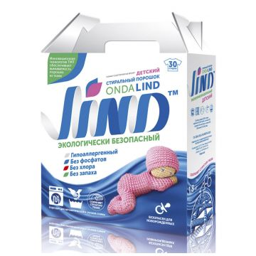 Стиральный порошок LINDСтиральный порошок LIND Детский без фосфатов автомат 1,8 кг, возраст от 0 мес<br><br>Возраст: от 0 мес