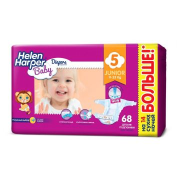 Подгузники Helen HarperПодгузники Helen Harper Baby размер 5 Junior (11-25 кг) 68 шт, в упаковке 68 шт., размер XL (BIG)<br><br>Штук в упаковке: 68<br>Размер: XL (BIG)