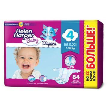 Подгузники Helen HarperПодгузники Helen Harper Baby размер 4 maxi (7-18 кг) 84 шт, в упаковке 84 шт., размер L<br><br>Штук в упаковке: 84<br>Размер: L