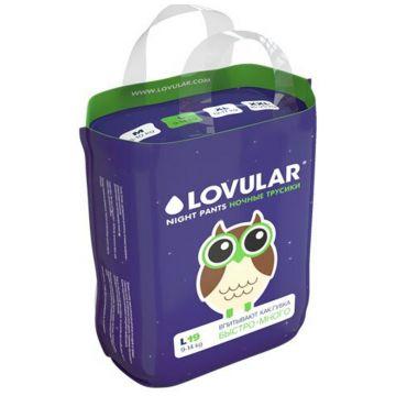 Трусики LovularТрусики ночные Lovular размер L (9-14 кг) 19 шт, в упаковке 19 шт., размер L<br><br>Штук в упаковке: 19<br>Размер: L