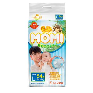 Подгузники MomiПодгузники MOMI размер L (9-14 кг) 54 шт, в упаковке 54 шт., размер L<br><br>Штук в упаковке: 54<br>Размер: L