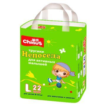 Трусики ChiausТрусики Chiaus Непоседа размер L (9-14 кг) 22 шт, в упаковке 22 шт., размер L<br><br>Штук в упаковке: 22<br>Размер: L