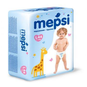 Трусики MepsiТрусики Mepsi размер L (9-16 кг) 44 шт, в упаковке 44 шт., размер L<br><br>Штук в упаковке: 44<br>Размер: L