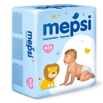 Трусики MepsiТрусики Mepsi размер M (6-11 кг) 58 шт, в упаковке 58 шт., размер M<br><br>Штук в упаковке: 58<br>Размер: M