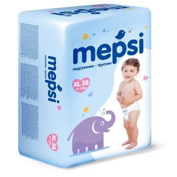 Трусики MepsiТрусики Mepsi размер XL (12-22 кг) 38 шт, в упаковке 38 шт., размер XL (BIG)<br><br>Штук в упаковке: 38<br>Размер: XL (BIG)