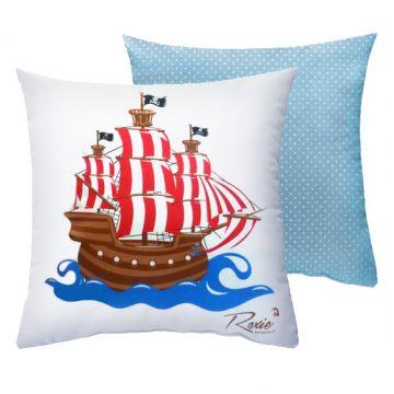 Подушка детская Roxie Корабль голубой горох 40*40Подушка детская Roxie Корабль голубой горох 40*40<br>