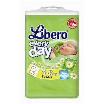 Подгузники LiberoПодгузники Libero Every Day (3-6 кг) с ромашкой 50 шт, в упаковке 50 шт., размер S<br><br>Штук в упаковке: 50<br>Размер: S