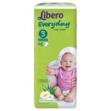 Подгузники LiberoПодгузники Libero Every Day размер M (4-9 кг) с ромашкой 46 шт, в упаковке 46 шт., размер M<br><br>Штук в упаковке: 46<br>Размер: M