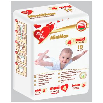 Подгузники MiniMaxПодгузники MiniMax размер L (7-18 кг) 19 шт, в упаковке 19 шт., размер L<br><br>Штук в упаковке: 19<br>Размер: L