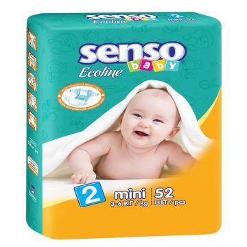 Подгузники Senso babyПодгузники Senso Baby Ecoline размер S (3-6 кг) 52 шт, в упаковке 52 шт., размер S<br><br>Штук в упаковке: 52<br>Размер: S