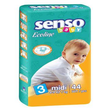 Подгузники Senso babyПодгузники Senso Baby Ecoline размер M (4-9 кг) 44 шт, в упаковке 44 шт., размер M<br><br>Штук в упаковке: 44<br>Размер: M