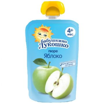 Бабушкино лукошко пюре из яблок мягкая упаковка с 4 мес. 90грБабушкино лукошко пюре из яблок мягкая упаковка с 4 мес. 90гр<br>