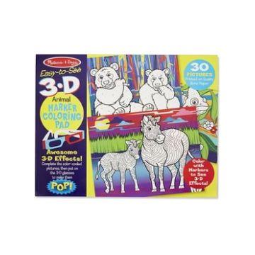 Набор раскрась по цветам Melissa and Doug Животные с 3D очками