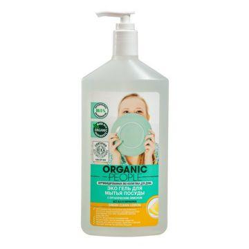 Эко Гель для мытья посуды Organic People Green clean lemon 500 мл