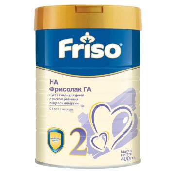 Молочная смесь FrisoМолочная смесь Friso Фрисолак ГА 2 гипоаллергенная с пребиотиками и нуклеотидами 6-12 мес. 400 г, возраст 3 ступень (6-12 мес). Проконсультируйтесь со специалистом. Для детей 6-12 мес.<br><br>Возраст: 3 ступень (6-12 мес)