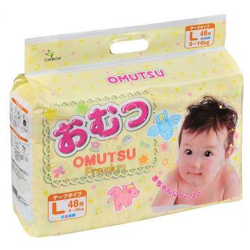 Подгузники OmutsuПодгузники детские Omutsu размер L (9-14 кг) 48 шт, в упаковке 48 шт., размер L<br><br>Штук в упаковке: 48<br>Размер: L