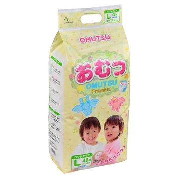 Трусики OmutsuТрусики детские Omutsu размер L (9-14 кг) 48 шт, в упаковке 48 шт., размер L<br><br>Штук в упаковке: 48<br>Размер: L