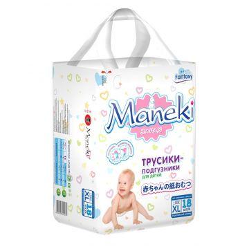 Трусики ManekiТрусики Maneki XL (12+ кг) 18 шт, в упаковке 18 шт., размер XL (BIG)<br><br>Штук в упаковке: 18<br>Размер: XL (BIG)