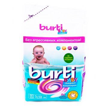 Стиральный порошок концентрированный BurtiСтиральный порошок концентрированный Burti Compact Baby для детского белья 0.9 кг<br>
