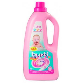 Жидкое средство для стирки детского белья BurtiЖидкое средство для стирки детского белья Burti liquid Baby 1.5 л, объем, 1л., возраст с 0 мес.<br><br>Объем, л.: 1<br>Возраст: с 0 мес.