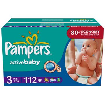 Подгузники PampersПодгузники Pampers Active Baby Midi (4-9 кг) Джайнт Плюс упаковка 112 шт, в упаковке 112 шт., размер M<br><br>Штук в упаковке: 112<br>Размер: M