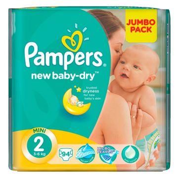 Подгузники PampersПодгузники Pampers New Baby-Dry 3-6 кг 2 размер 94 шт, в упаковке 94 шт., размер S<br><br>Штук в упаковке: 94<br>Размер: S
