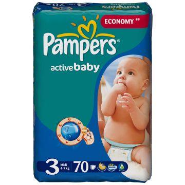 Подгузники PampersПодгузники Pampers Active Baby Midi (4-9 кг) экономичная плюс упаковка 70 шт, в упаковке 70 шт., размер M<br><br>Штук в упаковке: 70<br>Размер: M