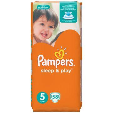 Подгузники PampersПодгузники Pampers Sleep  and  Play Junior (11-18 кг) Джамбо упаковка 58 шт, в упаковке 58 шт., размер XL (BIG)<br><br>Штук в упаковке: 58<br>Размер: XL (BIG)