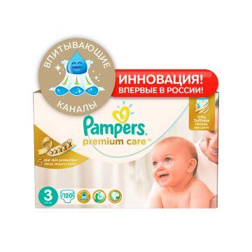 Подгузники PampersПодгузники Pampers Premium Care 5-9 кг 3 размер 120 шт, в упаковке 120 шт., размер M<br><br>Штук в упаковке: 120<br>Размер: M