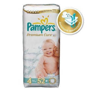 Подгузники PampersПодгузники Pampers Premium Care Maxi (7-14 кг) экономичная упаковка 52 шт, в упаковке 52 шт., размер L<br><br>Штук в упаковке: 52<br>Размер: L